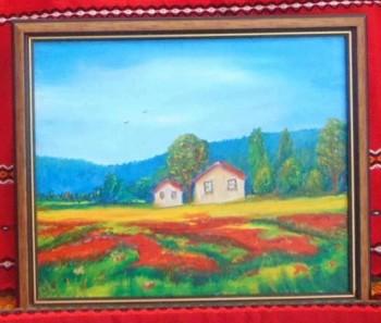 Картина-къщи в маково поле